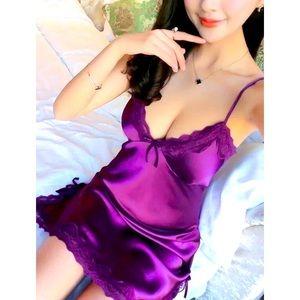 Women's Purple Lace Nightdress+G-String Sz S
